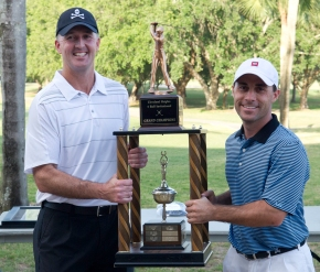 Gary Cona and Drew Downs with the 4-Ball champions trophy.