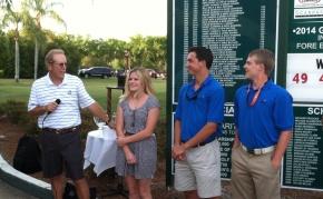 President Joe Birkner with our 2014 winners (from left) Crislyn Lucas, Steven Pike and Joshua Wilson